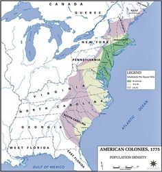 1775 map of the American Colonies