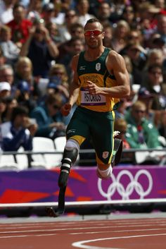 South Africa's Oscar Pistorius -- the first double-amputee runner to compete in the Olympic Games -- sprinting during a men's 400-meter heat Saturday in the Olympic Stadium at the London 2012 Olympic Games.