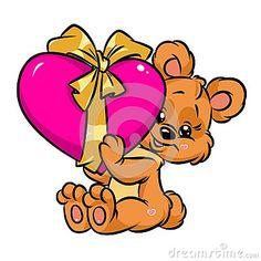 Cute little teddy bear valentine heart gift  card cartoon illustration