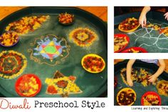 Learning and Exploring Through Play: Diwali Rangoli Patterns Preschool Art Diwali Eyfs, Diwali Craft, Diwali Rangoli, Diwali Activities, Reception Activities, Funky Fingers, Creative Area, Recycled Wine Corks, Homemade Bird Feeders