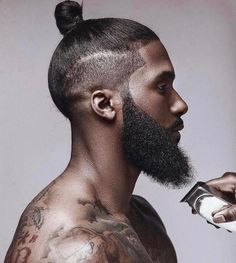 Sexy black men hair and beard