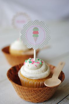 Shabby Chic Ice Cream Cupcake Toppers by Twinkle Twinkle Little Party