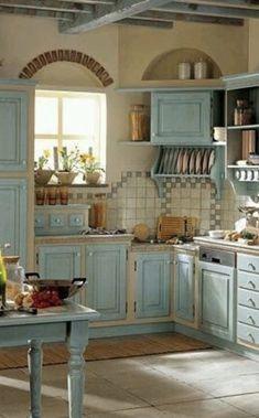 Cozy Kitchen, Shabby Chic Kitchen, Vintage Kitchen Decor, Farmhouse Kitchen Decor, Home Decor Kitchen, Country Kitchen, Kitchen Design, Cottage Kitchens, Home Kitchens