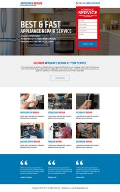 Appliance repair service landing page design templates Real Estate Website Design, Appliance Repair, Landing Page Design, Washer And Dryer, Appliances, Web Design, Blog, Lead Generation, Modern