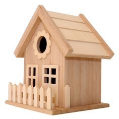Find the Wood Birdhouse with Fence by ArtMinds® at Michaels Bird House Plans, Bird House Kits, Arts And Crafts Projects, Wood Projects, Craft Stick Crafts, Wood Crafts, Bird Houses Diy, Fairy Houses, Construction Design