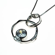 Silver Necklace with white cubic zirconia stone - Icelandic Design Washer Necklace, Pendant Necklace, Iceland, Handmade Jewelry, Stone, Silver, Design, Ice Land, Rock