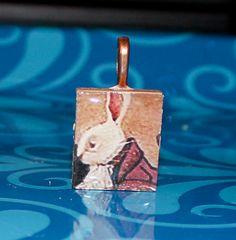 Alice in wonderland Scrabble tile pendant