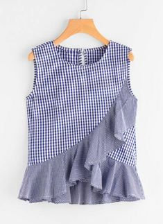 SheIn offers Gingham Frill Tulip Hem Tank Top & more to fit your fashionable needs. Teen Fashion Outfits, African Fashion Dresses, Woman Outfits, Fashion Clothes, Kids Fashion, Frocks For Girls, Little Girl Dresses, Girls Frock Design, Diy Clothes