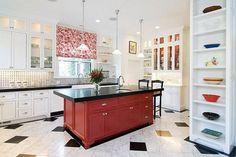 red island white cabinets  | : Mocern White Kicthen Scheme With Dark Red Kitchen Island, hot red ...