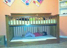Toddler Bunk Bed Crib Conversion to Toddler Bunk Bed DIY Toddler bunk bed Bunk Bed Crib, Toddler Bunk Beds, Diy Dog Bed, Diy Bed, Space Saving Beds, Diy Crib, Modern Crib, Ikea, Little Girl Rooms