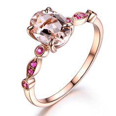 Pink Morganite Engagement Ring,8x6mm Oval Cut Stone,Solid 14K Rose Gold,Split Shank Band Check more at https://engagementringsandweddingbands.com/product/pink-morganite-engagement-ring8x6mm-oval-cut-stonesolid-14k-rose-goldsplit-shank-band/