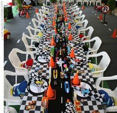 Race track party inspiration.  Could work with a Cars theme.