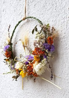 Flower wreath of dried flowers - autumnal - - Fleurs Diy, Dried Flowers, Diy And Crafts, Floral Wreath, Wreaths, Nature, Plants, Flower Crowns, Bridal Hairstyles