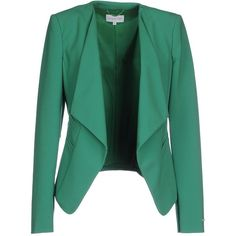 Patrizia Pepe Blazer ($205) ❤ liked on Polyvore featuring outerwear, jackets, blazers, blazer, green, multi pocket jacket, lapel jacket, long sleeve blazer, green jacket and green blazer