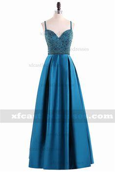 A-Line Beaded V Neck Satin Prom Dresses MXN1547 Prom Dresses Blue, Pretty Dresses, Formal Dresses, Teal Fabric, Beaded Top, Sequins, Satin, V Neck, Skirts