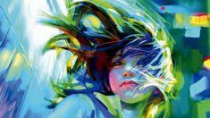 1920x1080 Wallpaper zhang bin, girl, art, wind