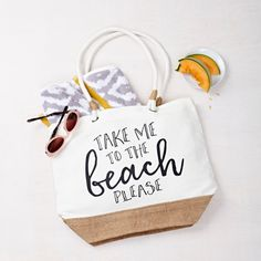 Take Me To The Beach Beach Bag.  The perfect gift for friends or sisters. They will love this cotton summer beach bag for all their holiday essentials.  The perfect bag for long summer holidays.  Can be personalised with any message inside of the bag as per image.