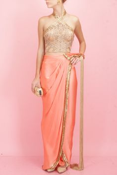 Coral and gold egyptian embroidery pant-sari available only at Pernia's Pop-Up Shop.