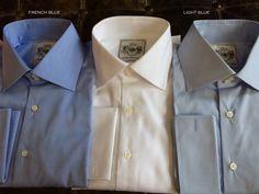 Solid Light Blue Tailored Executive Shirt High Collar Shirts, Savile Row, Light Blue, Raincoat, London, Suits, Jackets, Fashion, Rain Jacket