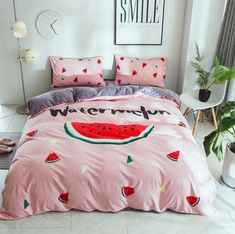 Your kids might fall in love with this one! Watermelon Designs, Cute Watermelon, Duvet Bedding Sets, Comforters, Shower Party, My Room, Pink Blue, Duvet Covers, Pillow Cases