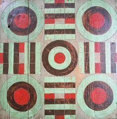 Dull Tool Dim Bulb: Vintage Folk Art Handmade Gameboard Parcheesi Original Paint circa 1920 Collection Jim Linderman