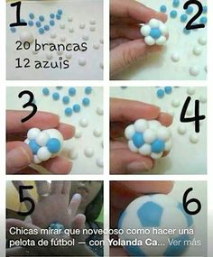 how to make an easy soccer ball from fimo. (Fondant) you could make birthday party favors in your team colors. I wonder if this would work with fondant to make cupcake toppers? Seems like it would work. any body tried this - let us know. Fondant Toppers, Fondant Cakes, Cupcake Toppers, Cake Decorating Techniques, Cake Decorating Tutorials, Cookie Decorating, Decorating Ideas, Decors Pate A Sucre, Decoration Patisserie