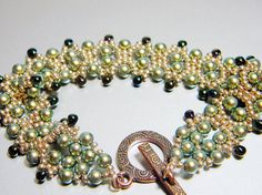 READY TO SHIP Fairy Pearls Swarovski Iridescent Green Pearl Bracelet by WhimsyBeading, $40.00
