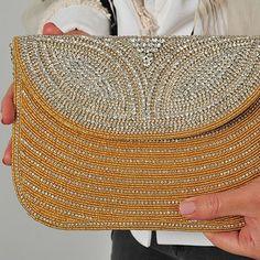 Gold Clutch Bag Couture Handbags Fabric Black Silver Diamonds Beads Evening Bags Purses
