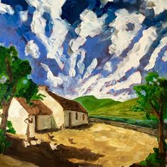 Original Oil Colour Painting inspired by Ireland by IrishFamArt Irish Design, Farm Art, Vintage Art Prints, Portrait Illustration, People Art, Freelance Illustrator, Canvas Frame, Countryside, Paint Colors
