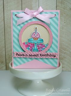 Lawn Fawn - Baked with Love + coordinating dies, Stitched Party Banners, Let's Polka, Mon Amie paper _ Sweet Birthday card by Heidi for Lawnscaping Challenge dots and stripes via Flickr - Photo Sharing!