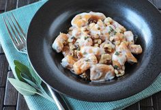 Sweet Potato Gnocchi {vegan, gluten-free} served with cashew cream sauce, toasted walnuts and fresh sage