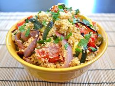 roasted veggie cous cous (only i'm going to use quinoa)  YUMMM
