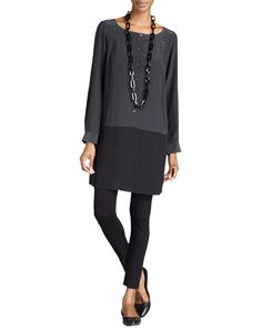 Eileen Fisher Silk Colorblock Tunic