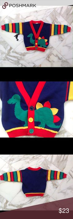 Vintage dinosaur sweater 2T EUC Adorable vintage dinosaur cardigan no tag but measures at a 2T measurements are 12L 11W 9.25 Arm length from seam to cuff. Truly excellent condition. Shirts & Tops Sweaters