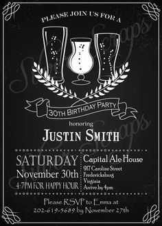 27 best 21st birthday images on pinterest 15 years wedding ideas chalkboard beer birthday invitation bar pub ale lager glass wheat hops mug bubbles black white male masculine for him printable diy filmwisefo