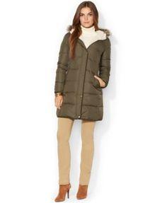 Lauren Ralph Lauren Faux-Fur-Trim Quilted Puffer Coat
