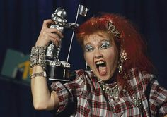 cindy with her MTV video music award Mtv Video Music Award, Music Awards, 80s Music, Good Music, Mtv Videos, Music Videos, Italo Disco, Radio City Music Hall, Cyndi Lauper