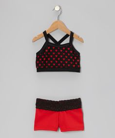 Black & Red Heart Crop Top & Shorts - Girls | Daily deals for moms, babies and kids