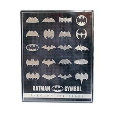 "Even Batman is compelled to change his branding from time to time. Devoted fans will love this look at how the iconic symbol has evolved through the years, boldly embossed on our quality tin sign.  DC Comics officially licensed product Product Category: Metal Signs & Wall Art Material Description: Embossed Metal Size: 14.87"" W X 19"" H X 0.125"" D Weight: 1.1 LBS Open Signs, Dc Comics Superheroes, Batman Logo, Metal Signs, Wall Signs, Emboss, Size 14, Tin, Comic Books"