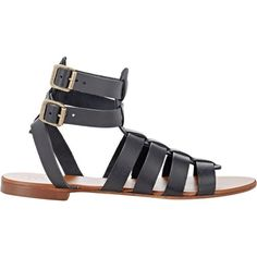 Barneys New York Double-Buckle Gladiator Sandals ($85) ❤ liked on Polyvore featuring shoes, sandals, black, open toe flats, flat pumps, ankle wrap flat sandals, black ankle strap flats and black gladiator sandals