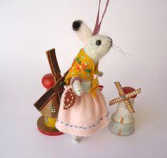 Needle Felted Animal Festive White Rabbit by MissBumbles on Etsy