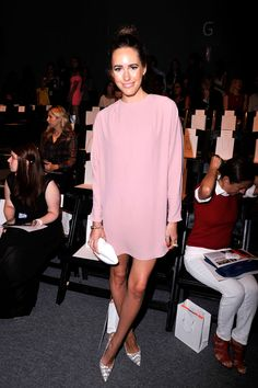 Louise Roe at the Tracy Reese Show in reiss blush pink