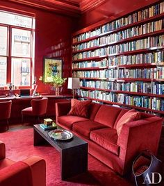 More gorgeous red bookcases from designer @brucebiermandesign. Fabulous. #red #redhot #hot #living #livingroom #library #books #bookcase #color #design #interior #interiores #interiordesign #instagood #inspiration #room #roomdecor #architecture #custom #luxury #furniture #accessories #style #gorgeous #beautiful #decor #glam #home #homedecor #homedesign via @archdigest
