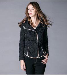 52a3d2a2669 BURDULLY Hooded short section Slim cotton Coat Jacket Women s diamond  lattice jackets Loose Was thin Plus size 2XL women Coats