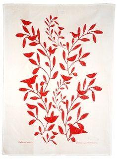 Linen tea towels #birds #madeincanada #red