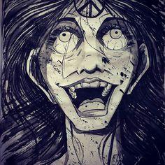 #inktober2016 #inktober #sketchbook #brushpen #waterink #peacesymbol #laugh #creepy #spooky #smille