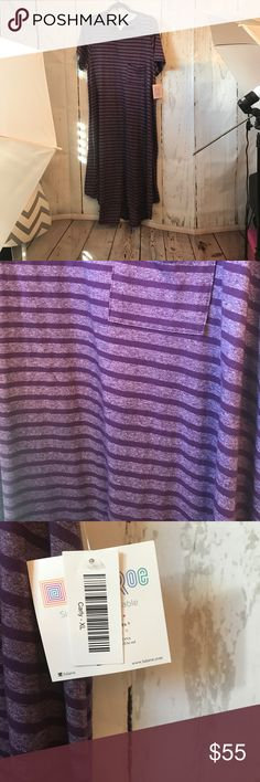 NWT PURPLE STRIPE LULAROE CARLY SIZE XL NWT Carly size XL LuLaRoe Dresses High Low