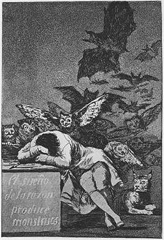 """1796-1798, akwaforta z akwatintą; artysta kojarzony z epoką romantyzmu Francisco Goya, """"Gdy rozum śpi, budza się upiory"""" z cyklu """"Okropności wojny"""""""