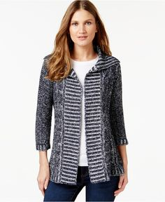 NY Collection Petite Open-Front Marled-Knit Cardigan - Sweaters - Women - Macy's