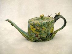 Whimsical Susan Thayer Oregon Butterfly Art Pottery Teapot Cup & Saucer